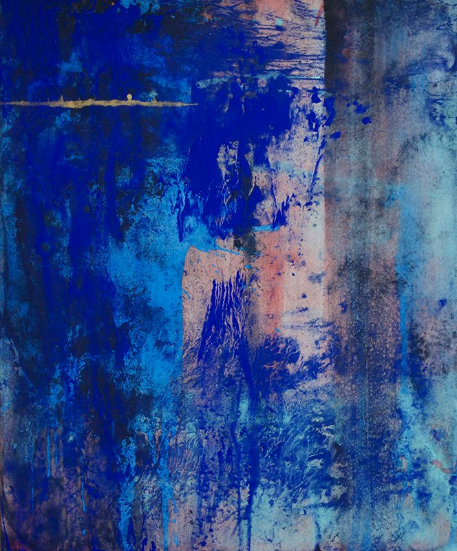"Makoto Fujimura's ""Grace Remains"" 73x91cm, mineral pigments and gold on Kumohada paper, 2016. Exclusively represented by Artrue International, to be exhibited by Waterfall Mansions, New York City, in May - June of 2017. Photo courtesy of Makoto Fujimura"