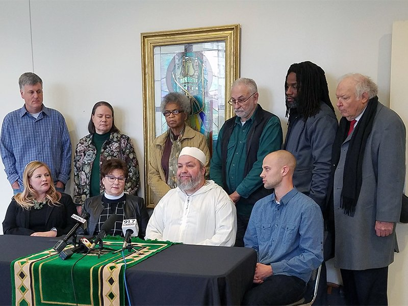 Imam Ismaeel Chartier, center, at the press conference announcing the Clifton Mosque in Cincinnati, Ohio, as the first mosque in the sanctuary movement in the U.S. Photo courtesy of Clifton Mosque
