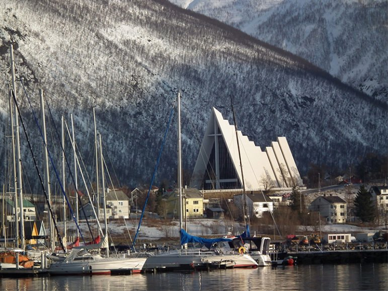The Arctic Cathedral, or Ishavskatedralen, of the Evangelical-Lutheran Church of Norway in Tromsø, Norway. Photo courtesy of Creative Commons