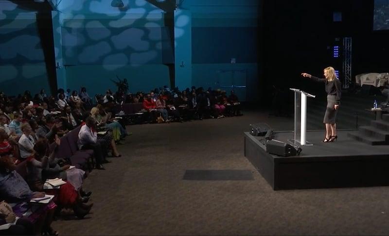 Rev. Paula White preaches at New Destiny Christian Center in Apopka, FL. Screenshot from NDCC.tv