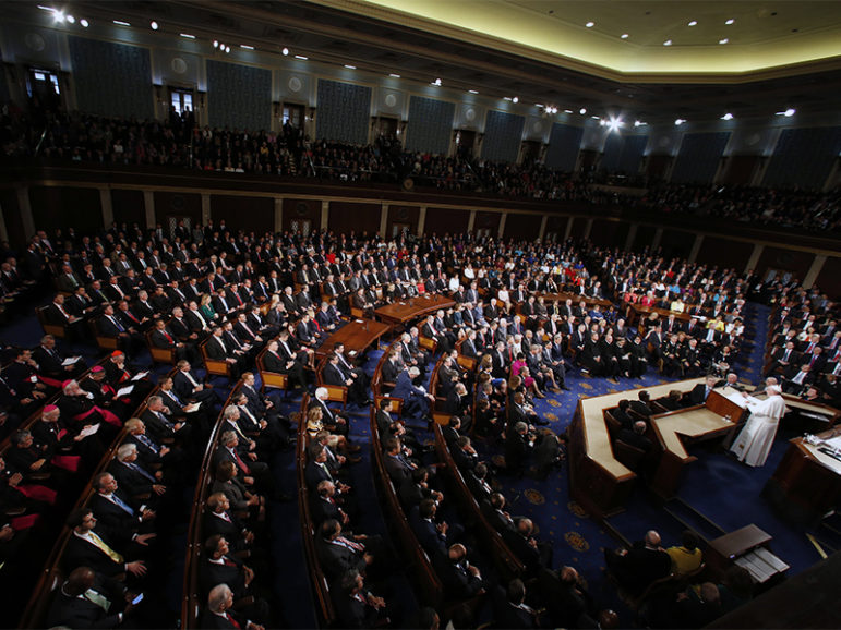 Pope Francis addresses a joint meeting of the U.S. Congress in Washington on Sept. 24, 2015. Photo courtesy of Reuters/Jonathan Ernst