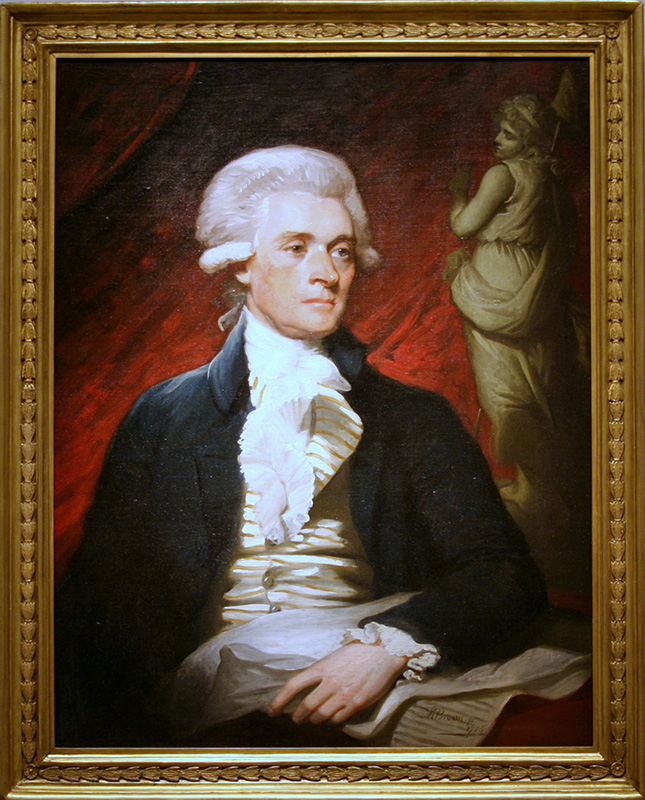 A portrait of Thomas Jefferson circa 1786 by artist Mather Brown.  Image courtesy of Creative Commons