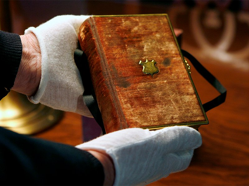 The Bible upon which President Abraham Lincoln was sworn in for his first inauguration is displayed at the Library of Congress in Washington, D.C., on Dec. 23, 2008. On January 20, 2017, President-elect Trump will take the oath of office using the same Bible Lincoln used. Photo courtesy of Reuters/Kevin Lamarque