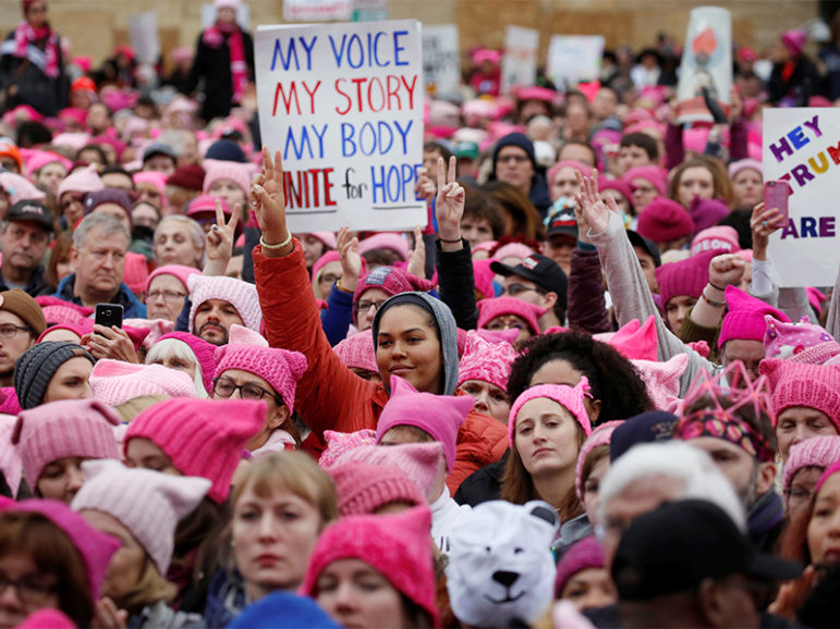 People gather for the Women's March on Washington near the National Mall on Jan. 21, 2017. Photo courtesy of Reuters/Shannon Stapleton