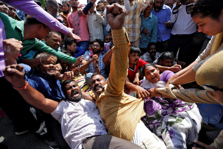 Demonstrators shout slogans during a protest organized by people of India's low-caste Dalit community against what they say are increasing atrocities against the community in Ahmedabad, India, on Sept. 27, 2016. Photo by Amit Dave/Reuters