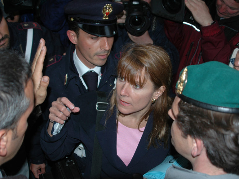 (RNS) Barbara Blaine, center, founder and president of the Survivors Network of those Abused by Priests, found herself in the center of controversy at an impromptu 2005 news conference at the Vatican after the death of Pope John Paul II. RNS file photo by Rene Shaw