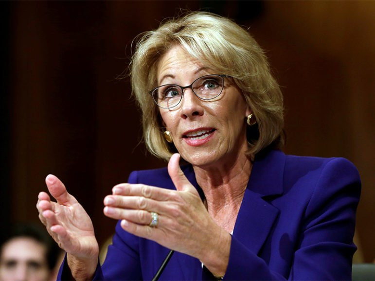Betsy DeVos testifies Jan. 17, 2017, before the Senate Health, Education and Labor Committee confirmation hearing to be the next secretary of education. Photo courtesy of Reuters/Yuri Gripas