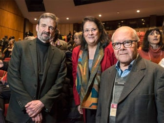 Participants in the Ibero-American Conference of Theology, which took place at Boston College's School of Theology and Ministry, Feb. 6 - 10, include (pictured L-R) Prof. Roberto S. Goizueta, the Margaret O'Brien Flatley Professor of Theology; Assoc. Prof. Nancy Pineda-Madrid, BC School of Theology and Ministry; and Prof. Juan Carlos Scannone, S.J., in the Faculty of Philosophy and Theology of San Miguel, Argentina. Photo courtesy of Lee Pellegrini/Boston College
