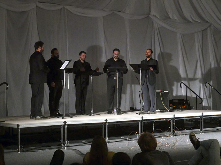 Five Greek Orthodox chanters perform medieval hymns at the