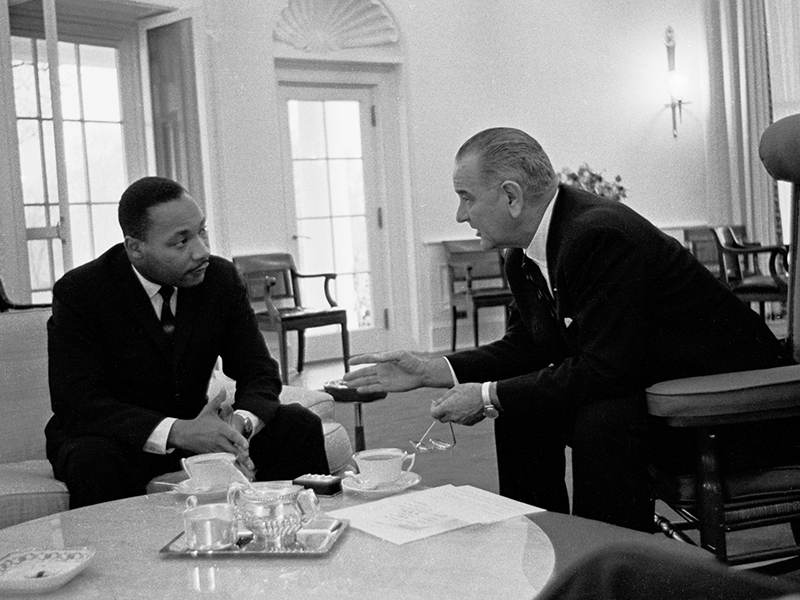 President Lyndon Johnson meets with Martin Luther King, Jr. Photo courtesy of Creative Commons/National Archives/Yoichi R. Okamoto