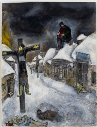 Marc Chagall, born Russia, active Russia, France, and USA, 1887– 1985. The Crucified, 1944. Gouache and graphite on paper, 62.2x47 cm. Image courtesy of The Israel Museum, Jerusalem