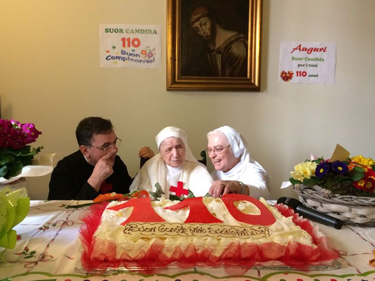 Sister Candida Bellotti, center, at the celebration in Italy for her 110th birthday on Feb. 20, 2017. Image from video screenshot