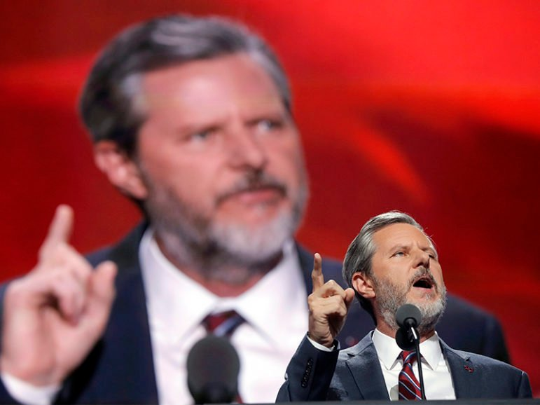 Liberty University President Jerry Falwell Jr. speaks during the final day of the Republican National Convention in Cleveland on July 21, 2016. Photo courtesy of Reuters/Brian Snyder
