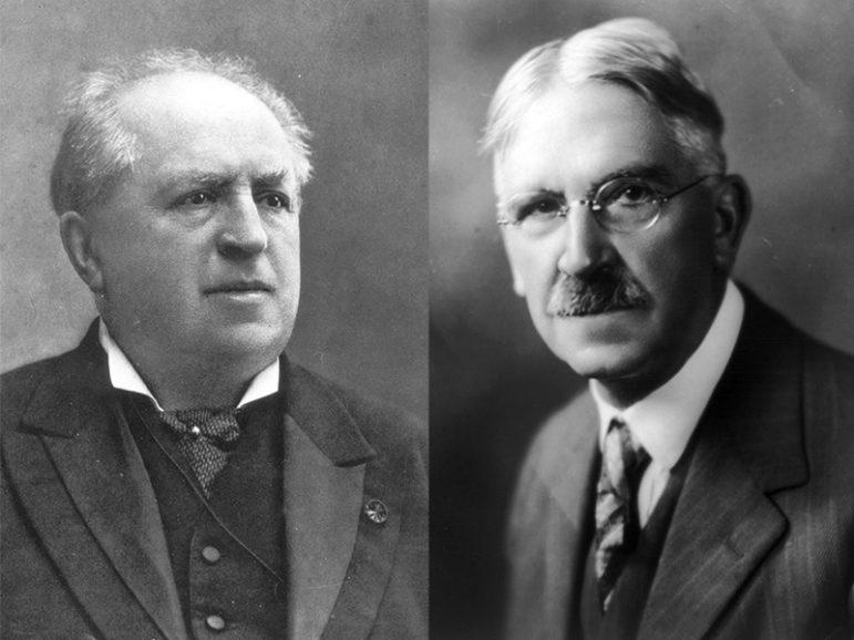 Abraham Kuyper, left, and John Dewey. Photos courtesy of Creative Commons