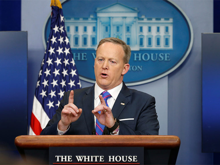 White House spokesman Sean Spicer holds a press briefing in Washington, D.C., on Feb. 14, 2017.  Photo courtesy of Reuters/Kevin Lamarque