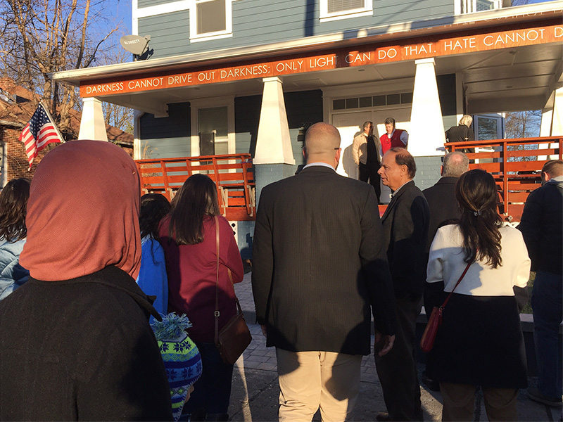 More than 100 people attended the opening of the Light House, a new community center and incubator for faith-based social entrepreneurship in Raleigh, N.C.. The Light House is dedicated in memory of the three Muslims murdered in Chapel Hill, N.C. two years ago. RNS photo by Yonat Shimron