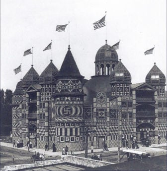 """The Corn Palace in Mitchell, South Dakota, was decorated with a swastika in 1907, when the symbol was thought of as an """"Indian good luck sign"""". Photo courtesy of Creative Commons/Library of Congress"""
