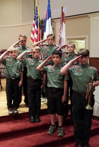 Trail Life Troop NC-0015 Honor Guard paying tribute to our nation's fallen on Memorial Day 2016. Photo courtesy of Trail Life Troop NC-0015