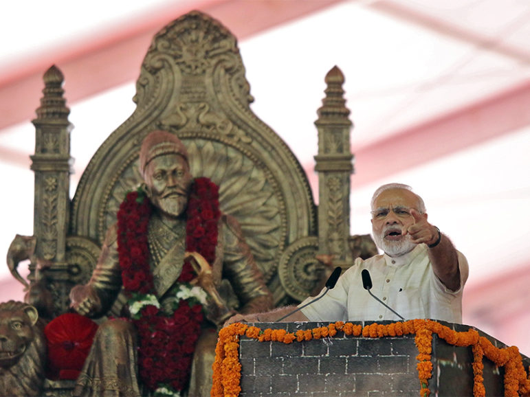 India's Prime Minister Narendra Modi speaks after laying the foundation for the memorial of Chhatrapati Shivaji Maharaj, in Mumbai, India, on Dec. 24, 2016. Photo courtesy of Reuters/Shailesh Andrade