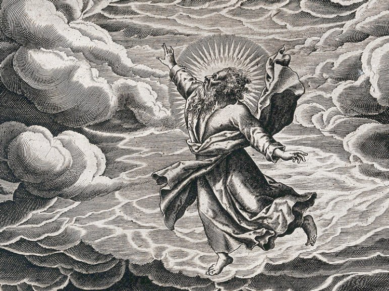 God, suspended in the clouds, creates light. Line engraving by Thomas de Leu. Image courtesy of Creative Commons/Wellcome Library, London