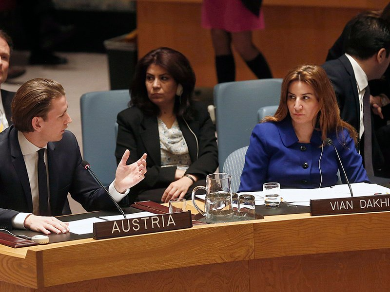 Austrian foreign minister Sebastian Kurz and Iraqi MP Vian Dakhil at a session of the UN Security Council in New York concerning the protection of religious minorities in the Middle East on March 27, 2015. Photo courtesy of Creative Commons/Dragan Tatic