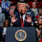 U.S. President Donald Trump holds a rally