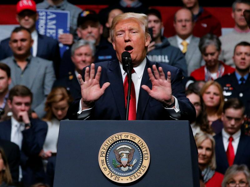 U.S. President Donald Trump holds a rally