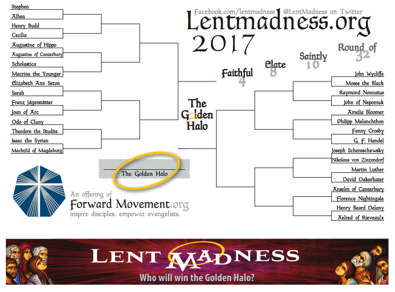 Lent Madness 2017 bracket