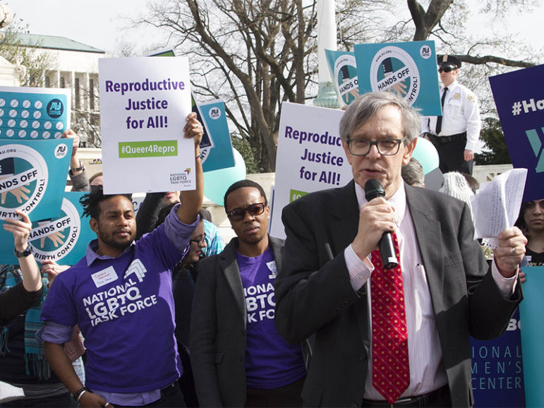 The Rev. Barry Lynn speaks at a rally outside the Supreme Court on March 23, 2016, in Washington, D.C. Photo courtesy of AU