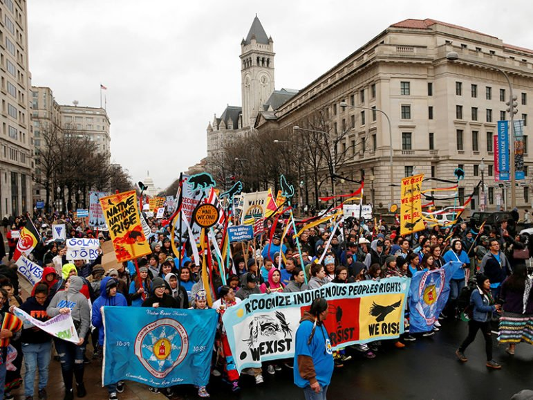 Indigenous leaders participate in a protest march and rally in opposition to the Dakota Access and Keystone XL pipelines in Washington, D.C., on March 10, 2017. Photo courtesy of Reuters/Kevin Lamarque