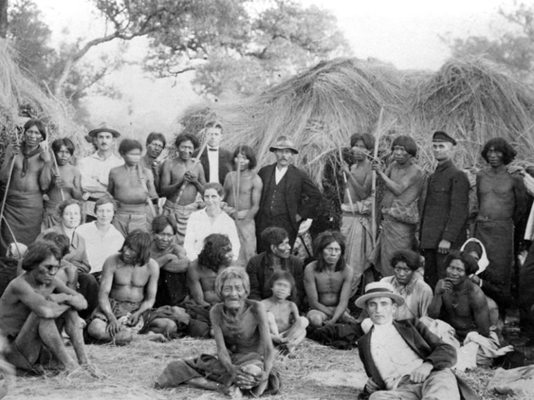 German-speaking Mennonite refugees from the Soviet Union with indigenous neighbors near the Fernheim Colony in northwest Paraguay in 1930.  Photo courtesy of Archiv der Kolonie Fernheim (Filadelfia, Paraguay)
