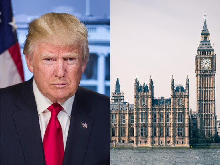 President Trump, left, and the Houses of Parliament in central London. Photos courtesy of Creative Commons