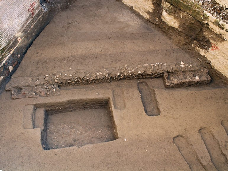 The burial area where the bodies were found during building construction in the Trastevere district of Rome. Photo courtesy of Rome's Archaeological Superintendency