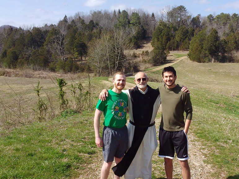 Will Peterson, left, Brother Paul, and David Cable as their pilgrimage comes to a close and their retreat begins on March 29, 2017, at the the Abbey of Gethsemaniin Kentucky.