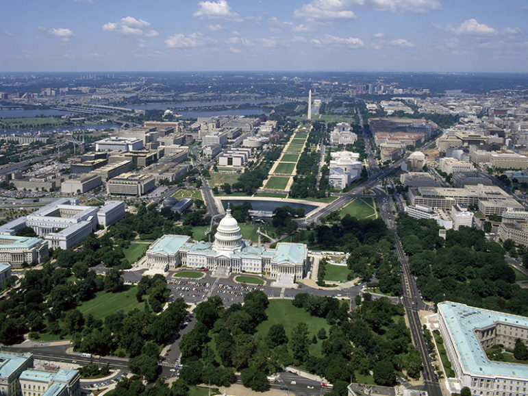 Aerial view of the National Mall, with the U.S. Capitol in the foreground and Washington Monument in the distance, in Washington, D.C. Photo by Carol M. Highsmith/Library of Congress/Creative Commons
