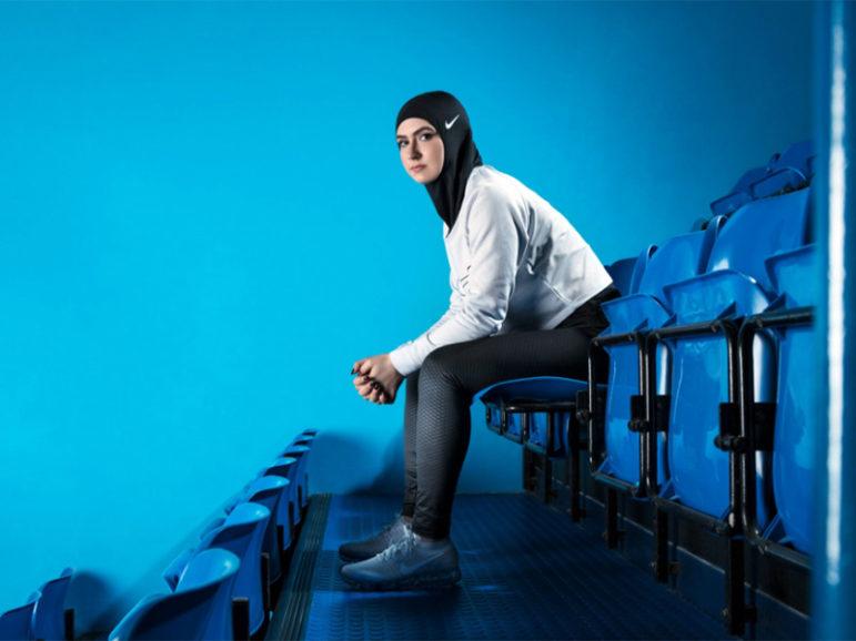 A model sports the Nike Pro Hijab. Photo courtesy of Nike/Vivienne Balla