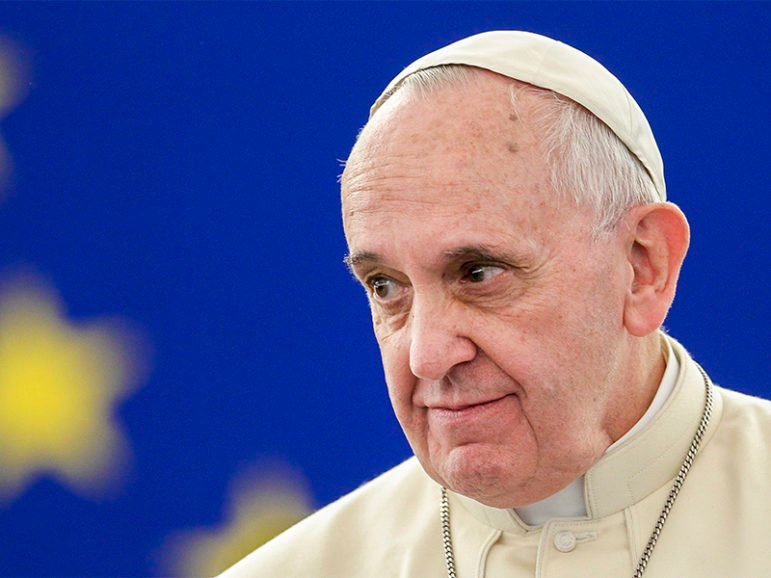 Pope Francis visits the European Parliament in Strasbourg, France, on Nov. 25, 2014. Photo courtesy of European Union 2014 - European Parliament/Fred Marvaux