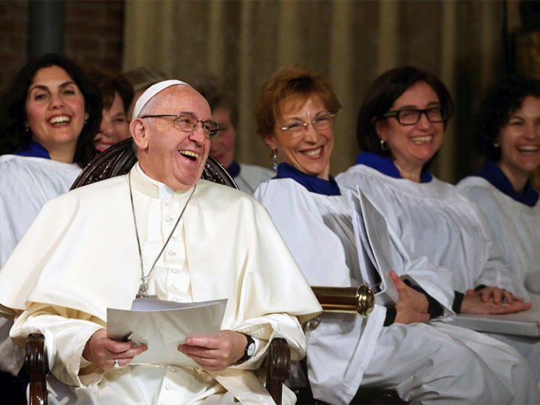 Pope Francis laughs during his visit to the All Saints' Anglican Church in Rome on Feb. 26, 2017. Photo courtesy of Reuters/Alessandro Bianchi