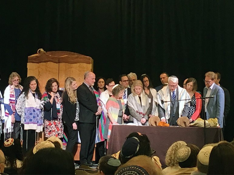 A Torah scroll is read during the annual convention of the Central Conference of American Rabbis in Atlanta on March 20, 2017.  Photo courtesy of CCAR