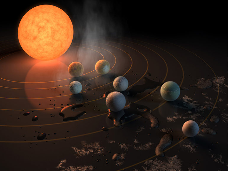 This artist's concept appeared on the February 23rd, 2017 cover of the journal Nature announcing that the TRAPPIST-1 star, an ultra-cool dwarf, has seven Earth-size planets orbiting it. Any of these planets could have liquid water on them. Planets that are farther from the star are more likely to have significant amounts of ice, especially on the side that faces away from the star. Image courtesy of NASA
