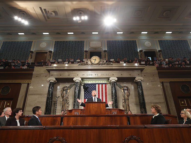 President Trump delivers his first address to a joint session of Congress from the floor of the House of Representatives in Washington, D.C., on Feb. 28, 2017. Photo courtesy of Reuters/Jim Lo Scalzo/Pool