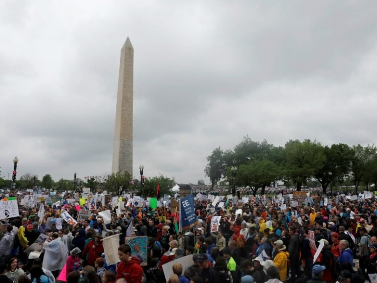 Demonstrators gather at the Washington Monument before marching to the U.S. Capitol during the March for Science on April 22, 2017, in Washington, D.C. Photo courtesy of Reuters/Aaron P. Bernstein