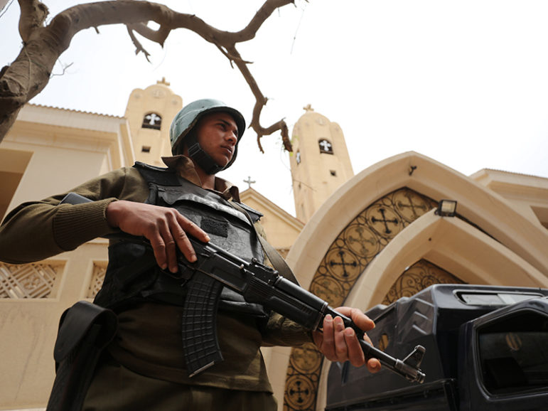 An armed policeman secures the Coptic church that was bombed on Sunday in Tanta, Egypt April 10, 2017. Photo courtesy of REUTERS/Mohamed Abd El Ghany