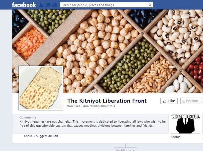 An array of legumes on the Kitniyot Liberation Front Facbebook page.  It posts
