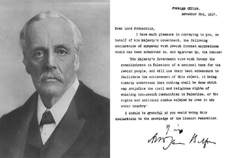 Portrait of British Foreign Secretary Arthur J. Balfour, along with his famous declaration. Photo courtesy of Creative Commons