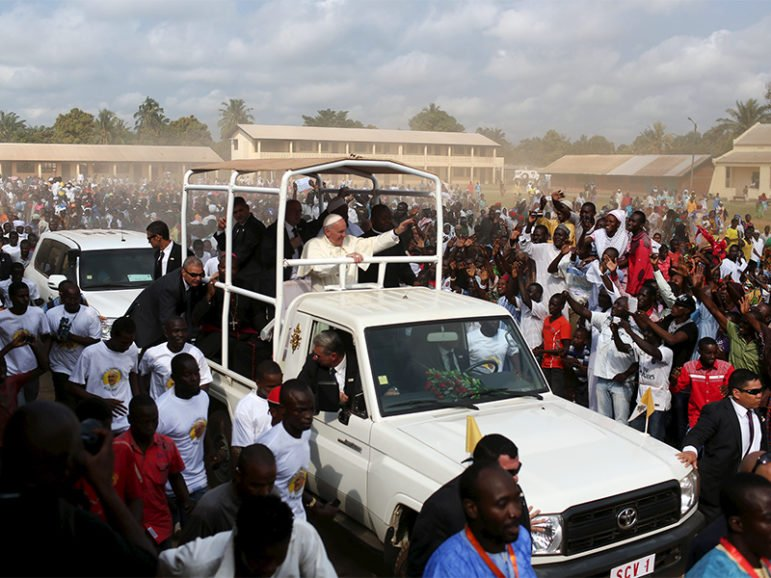 A crowd greets Pope Francis as he visits residents in the capital Bangui, Central African Republic, on Nov. 30, 2015. Photo courtesy of Reuters/Siegfried Modola *Editors: This photo may only be republished with RNS-CATHOLIC-GROWTH, originally transmitted on April 6, 2017.