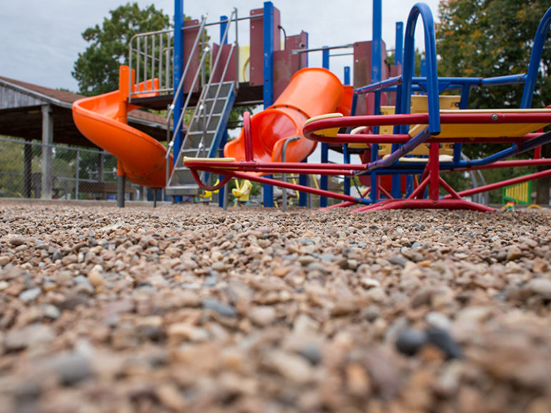 Gravel paves the playground of Trinity Lutheran Church's Child Learning Center in Columbia, Mo., on Oct. 18, 2016. RNS photo by Sally Morrow