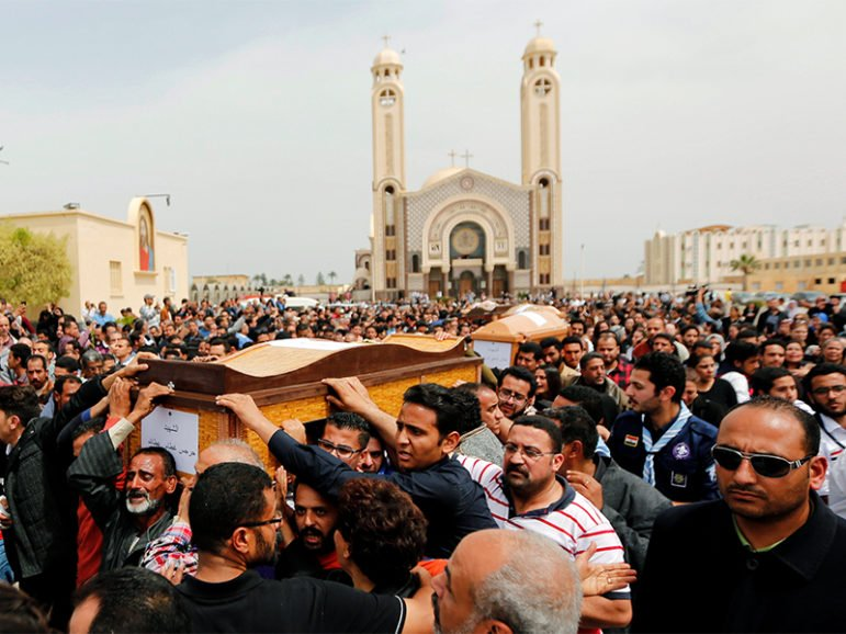 Relatives mourn the victims of the Palm Sunday bombings during the funeral at the Monastery of St. Mina (Deir Mar Mina) in Alexandria, Egypt, on April 10, 2017. Photo courtesy of Reuters/Amr Abdallah Dalsh