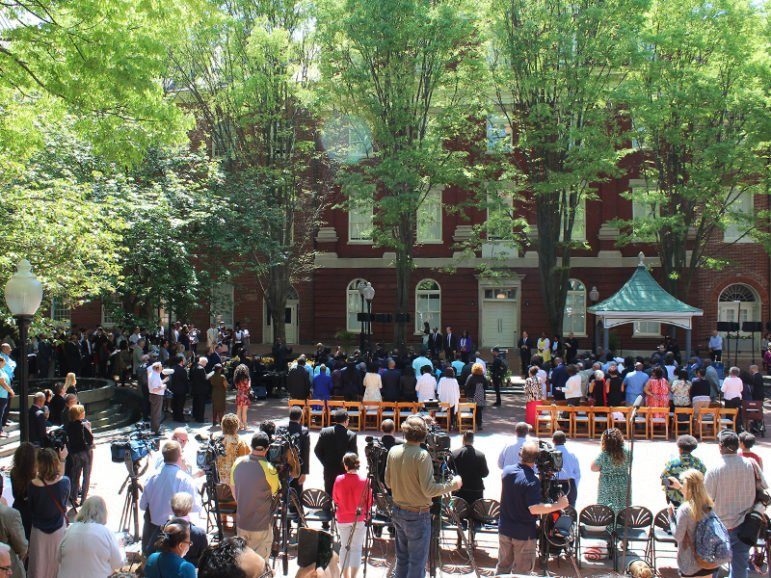Crowds of slave descendants and Georgetown University students and staffers gather for a dedication ceremony of two buildings at the school that were renamed, one in honor of a slave sold by Maryland Jesuits, and another for a free black woman educator, on April 18, 2017. RNS photo by Adelle M. Banks