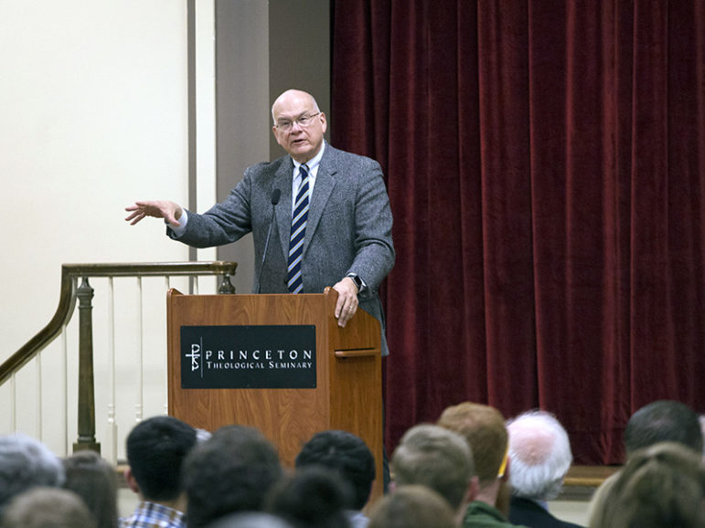 The Rev. Tim Keller speaks at Princeton Theological Seminary in Princeton, N.J., on April 6, 2017.  Photo courtesy of Princeton Theological Seminary